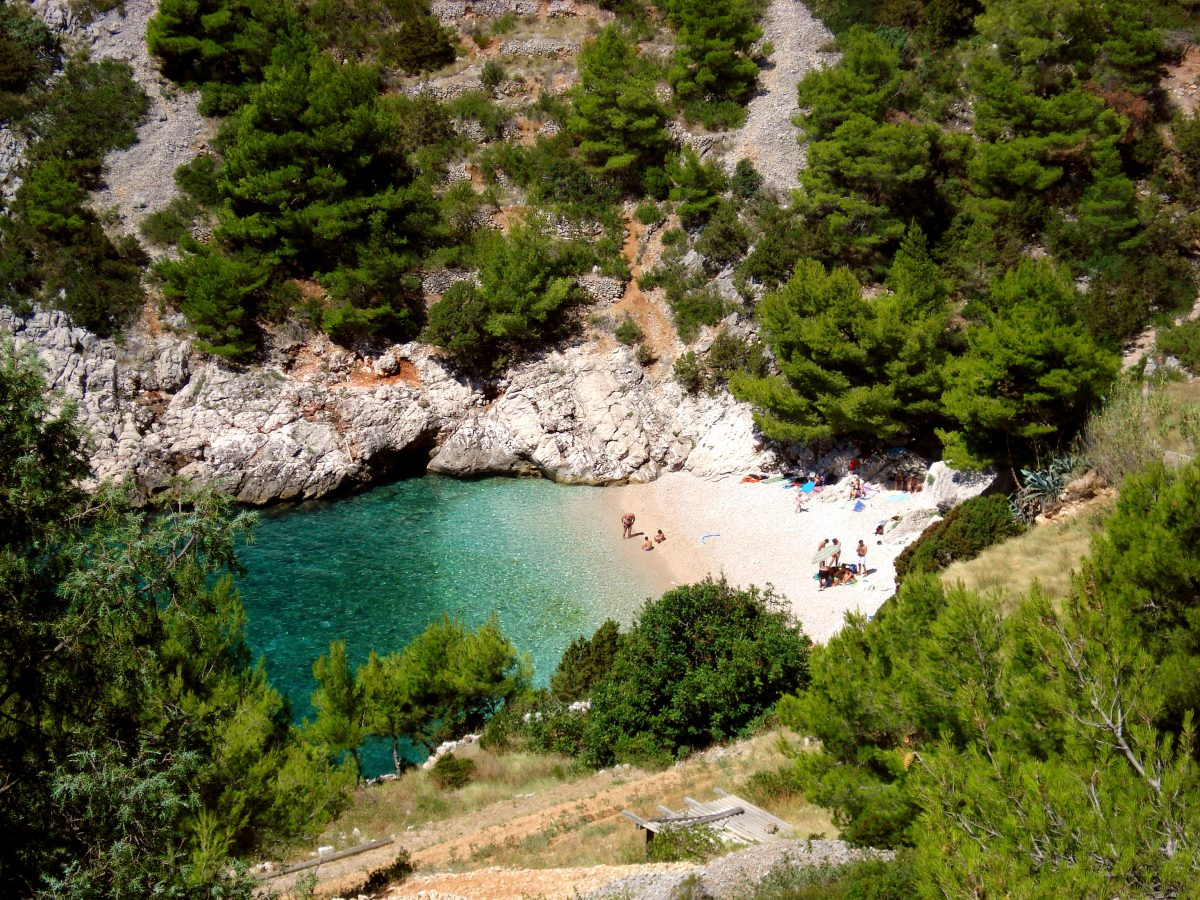 Hidden sandy beach at Hvar island